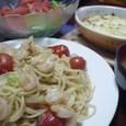 小エビとキャベツのペペロンチーノ