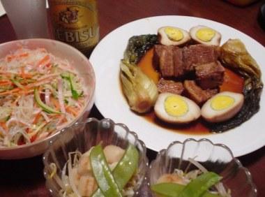 豚角煮と春雨サラダ